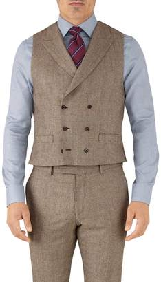 Tan Check Adjustable Fit British Serge Luxury Suit Wool Vest Size w46 by Charles Tyrwhitt