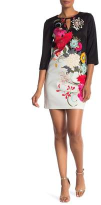 Trina Turk trina Paloma 3\u002F4 Sleeve Print Dress