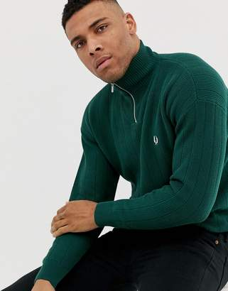 half zip knitted jumper in green