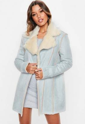 Missguided Blue Faux Suede Contrast Fur Lined Coat