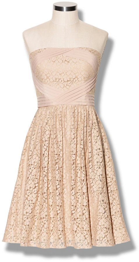 Pleated Lace Dress Khaki