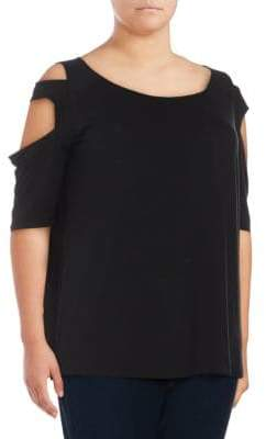 Plus Overlap Band Cold-Shoulder Tee