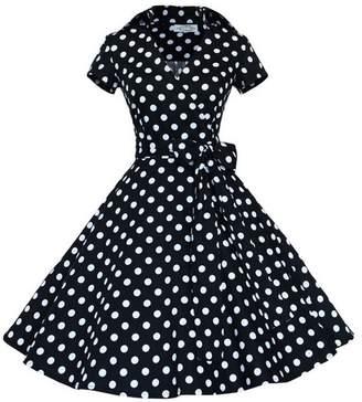 Legou Women's Cotton Solid Color Bow Tie Waist Vintage Swing Dress L