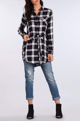 Blu Pepper Plaid Relaxed Top