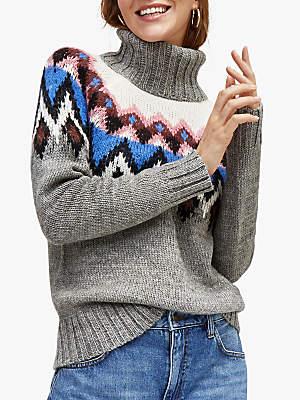 Warehouse Fair Isle Chunky Knit Jumper, Light Grey