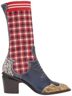 Fendi patch-work cowboy boots