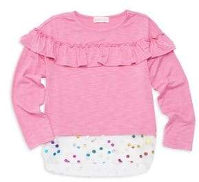 Design History Little Girl's Ruffled High-Low Top