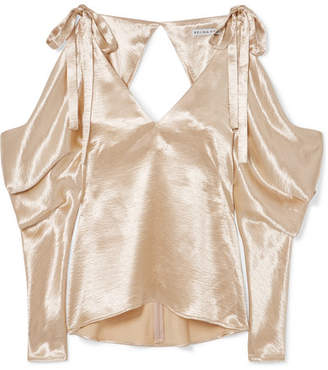 REJINA PYO - Camille Cold-shoulder Draped Satin Blouse - Gold