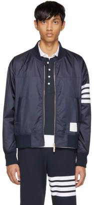 Thom Browne Navy Shoulder Gusset Four Bar Bomber Jacket