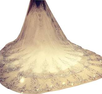 Fenghuavip 1T 3 Meters Wedding Veils for Bride with Crystals