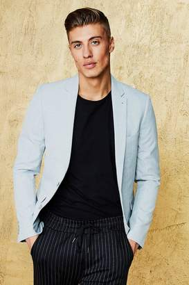 boohoo Single Breasted Skinny Fit Textured Blazer