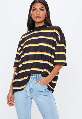 Missguided Black Stripe Drop Shoulder T Shirt