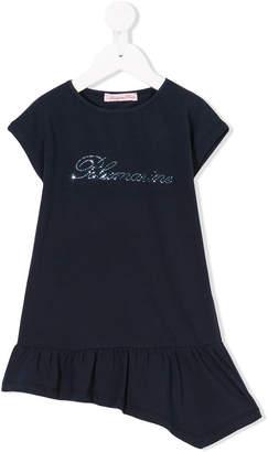 Miss Blumarine asymmetric logo dress