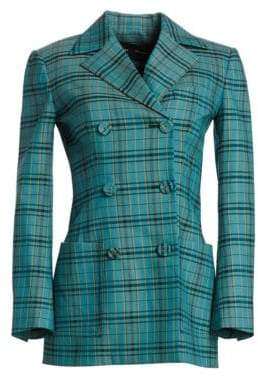 Proenza Schouler Stretch-Wool Double Breasted Plaid Blazer