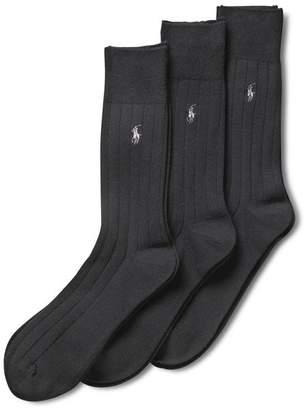 Polo Ralph Lauren Men's 3-Pack Solid Ribbed Slack Socks