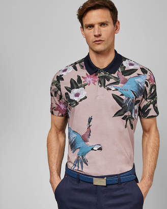 e85ee64b60301c Ted Baker CASHEW Cotton parrot print golf polo shirt