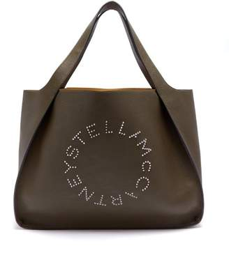 Stella McCartney Stella Studded Logo Faux Leather Tote Bag - Womens - Khaki