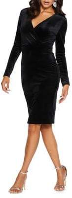 Quiz Long-Sleeve Velvet Mid Wrap Dress