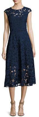 Shoshanna Cap-Sleeve Floral Lace Midi Dress, Blue $418 thestylecure.com