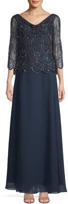 J Kara Embellished Sleeveless Gown