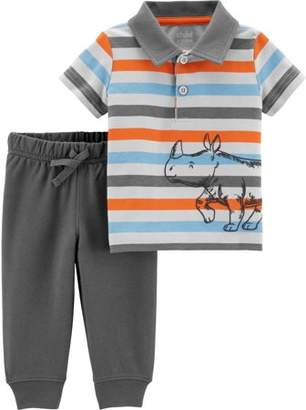 Carter's Child of Mine by Short Sleeve Polo Shirt & Pants, 2-Piece Outfit Set (Baby Boys)