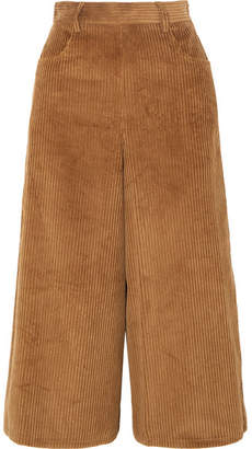 See by Chloe Cropped Cotton-blend Corduroy Wide-leg Pants - Brown