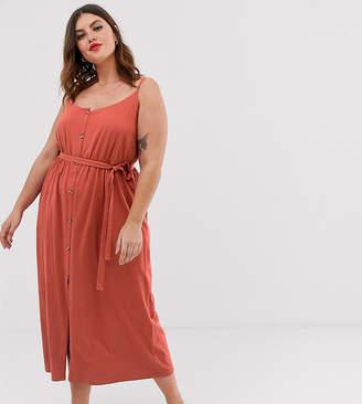 Asos DESIGN Curve button through maxi dress with self belt
