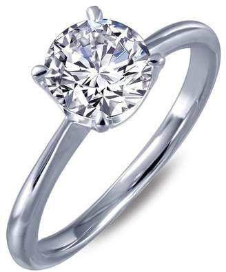 Lafonn Platinum Plated Sterling Silver Simulated Diamond Solitaire Ring