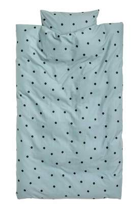 H&M Dotted Duvet Cover Set - Light turquoise/black dotted