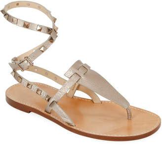 Valentino Rockstud Alce Metallic Ankle-Wrap Thong Flat Sandals