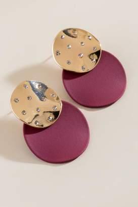 francesca's Heather Matte Metal Statement Earrings - Burgundy