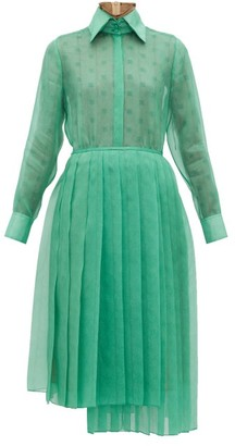 Fendi Asymmetric Organza Shirtdress - Womens - Green