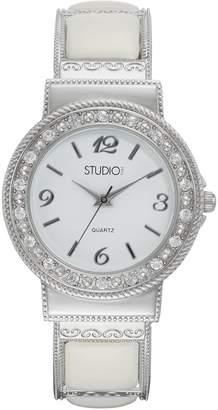 Studio Time Women's Crystal & White Cabochon Cuff Watch