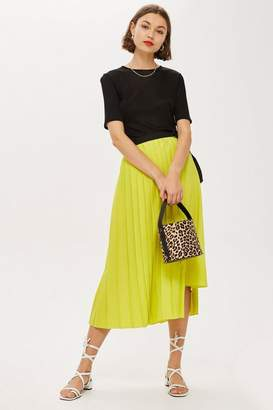 Topshop Asymmetric Pleat Midi Skirt