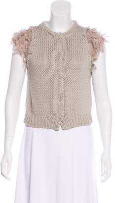 Brunello Cucinelli Ruffle-Sleeve Knit Cardigan