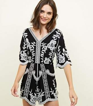 New Look Black Floral Crochet Embroidered Playsuit