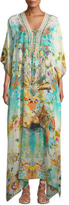Camilla Printed Embellished Lace-Up Coverup Kaftan
