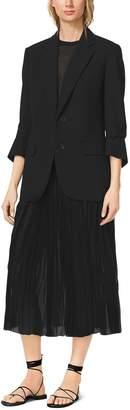 Michael Kors Cropped-Sleeve Wool-Serge Blazer