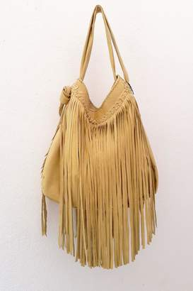 Areias Leather Yellow Fringes Bag