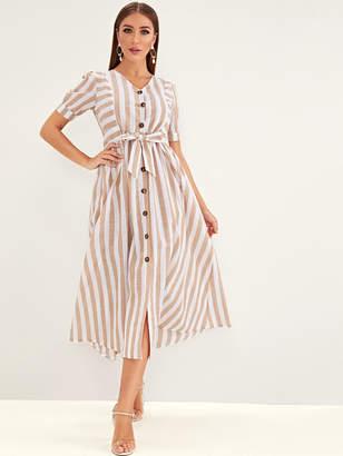 Shein Striped Button Front Knot Shirt Dress
