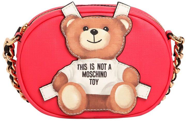 MoschinoTeddy Bear Tab Faux Leather Shoulder Bag