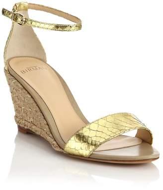 Alexandre Birman Women's Metallic Python Espadrille Wedge Sandals