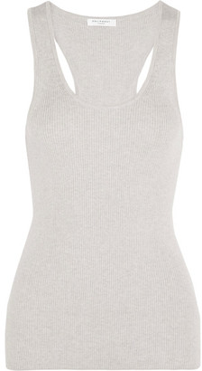 Equipment - Miller Ribbed Cotton, Silk And Cashmere-blend Tank - Gray $180 thestylecure.com