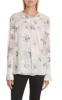 Jason Wu Winter Floral Knot Front Blouse