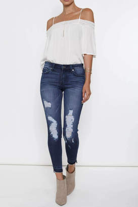 Kan Can Distressed High-Low Hem