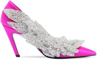 Balenciaga 80mm Talon Slash Sequined Satin Pumps