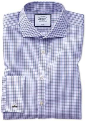 Charles Tyrwhitt Extra Slim Fit Non-Iron Blue and Purple Check Cotton Dress Shirt Single Cuff Size 14.5/32