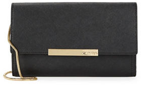 Calvin Klein Calvin Klein Flap-Over Embossed Leather Clutch
