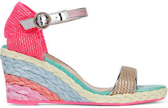 Sophia Webster Lucita Leather-trimmed Woven Canvas Espadrille Wedge Sandals - Pink
