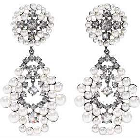 Kenneth Jay Lane Cz By Gunmetal-Tone Faux Pearl And Crystal Earrings